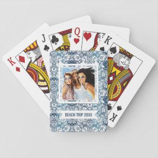 Addieren Sie Ihr Namens| Vintages Marinemuster Spielkarten