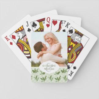 Addieren Sie Ihre Namens  tropischen Palmblätter Spielkarten
