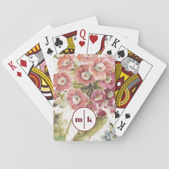Addieren Sie Ihre rosa Primel des Monogramm-| Spielkarten
