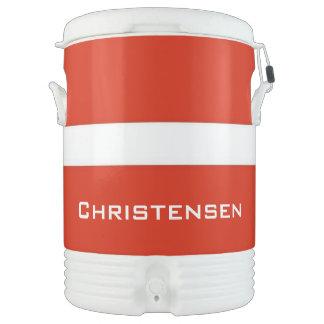 Addieren Sie Ihren Namen! Flagge von Dänemark, Igloo Getränke Kühlbox