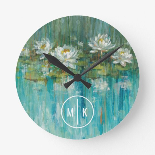 Addieren Sie Ihren Wasser-Lilien-Teich des Runde Wanduhr