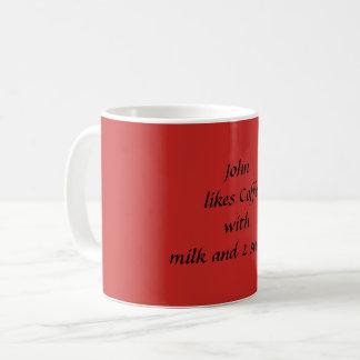 Addieren Sie Namen und Getränkewahl-Tasse Kaffeetasse