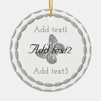 Addieren Sie Text-magisches silbernes Keramik Ornament