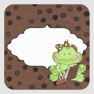 Addieren Sie Wort-Schokoladen-Froschaufkleber Quadratischer Aufkleber