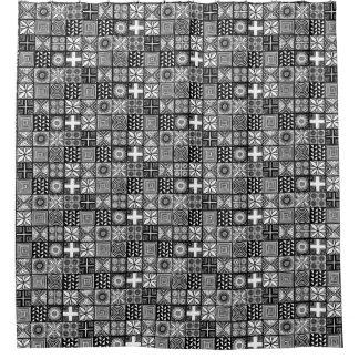 Adire Muster - Schwarzweiss Duschvorhang