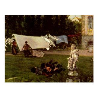 Adolf Menzel - Gartenszene Postkarte
