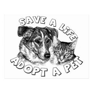 Adoptieren Sie ein Haustier Postkarte