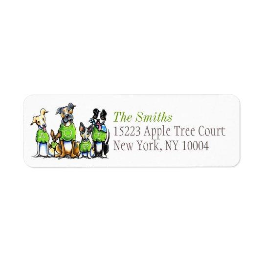 Adoptieren Sie Schutz-Hundc$weg-leine Art™ grünen Kleiner Adressaufkleber