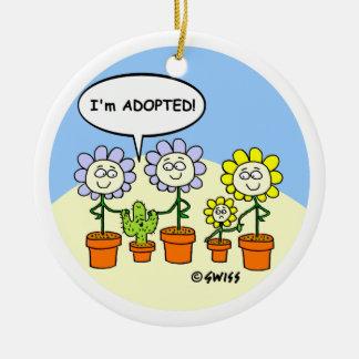 Adoptions-Cartoon-lustiger kundenspezifischer Keramik Ornament