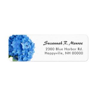 Adresse de retour blanche d'hortensia floral bleu étiquette d'adresse retour