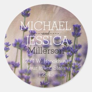 Adresse personnalisée par fleurs de lavande sticker rond