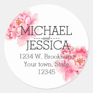 Adresse personnalisée par fleurs roses de pivoine sticker rond