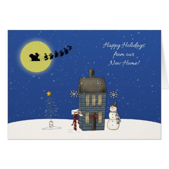 Adressen-Änderung, Schnee-Szene, Weihnachtsgruß Grußkarte