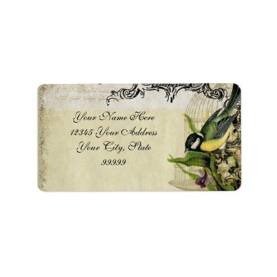 Adressen-Etikett Gelb-Lied-Vogelkäfig mit Blumen Adress Aufkleber