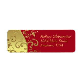Adressen-Etiketten--Rot-u. GoldWirbel