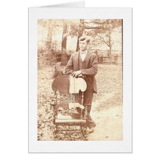 Adretter Mann und sein Stuhl Karte