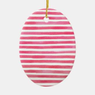 Adretter rosa Brushstroke Stripes Aquarell Ovales Keramik Ornament