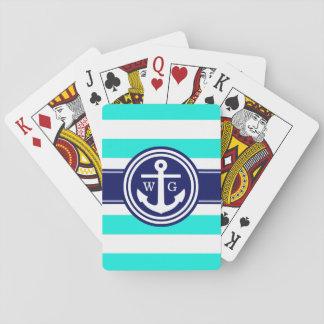 Adrettes helles Aqua-Streifen-Anker-Monogramm, Spielkarten