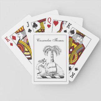 Adrettes heraldisches Kamel-Palme-Wappen Spielkarten