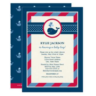 Adrettes Wal-Muster der Babyparty-Einladungs-| 12,7 X 17,8 Cm Einladungskarte
