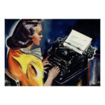 Affaires vintages, secrétaire Typing d'Admin une l Posters