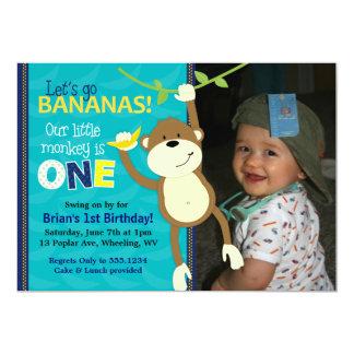 Affe-Bananen-erste Geburtstags-Foto-Einladungen Einladung