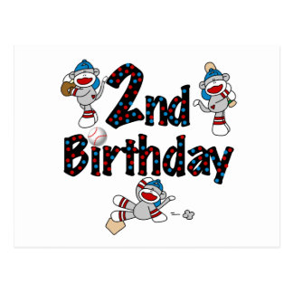 Affe-Baseball-2. Geburtstags-T-Shirts und Postkarte