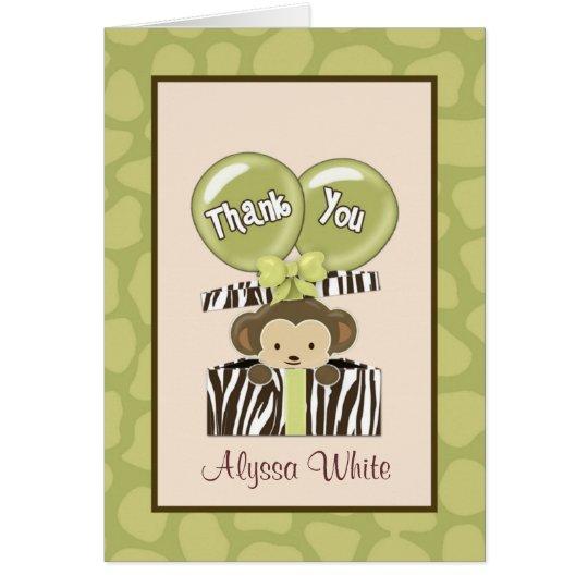 Affe-Dschungel-Babyparty CA danken Ihnen Karte