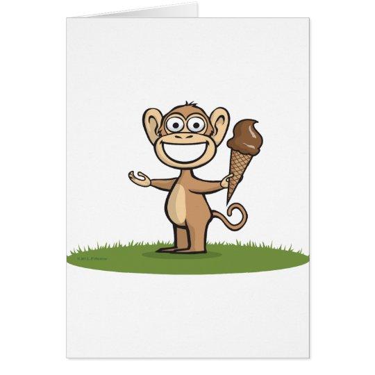 Affe-Eiscreme Grußkarte