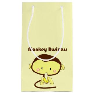 Affe-Geschäft Brown und gelber Schimpanse-Cartoon Kleine Geschenktüte