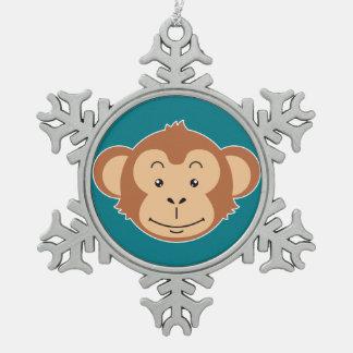 Affe-Gesicht Schneeflocken Zinn-Ornament