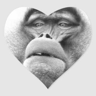 Affe Herz-Aufkleber