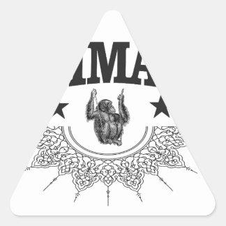 Affe in der Aufkleberkunst Dreieckiger Aufkleber