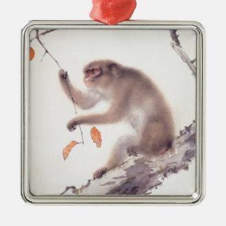 Affe-japanisches Silbernes Ornament