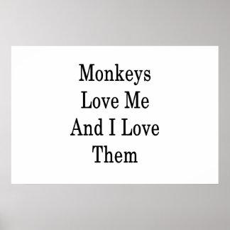 Affe-Liebe ich und i-Liebe sie Poster