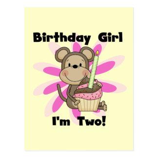Affe-Mädchen-2. Geburtstags-T-Shirts und Geschenke Postkarte