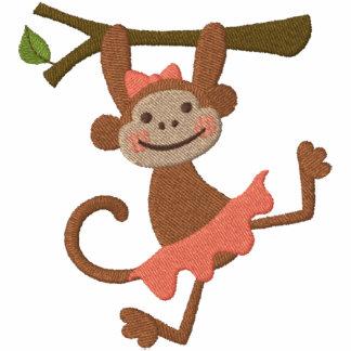 Affe-Mädchen Bestickter Damen Reißverschluss Hoodie