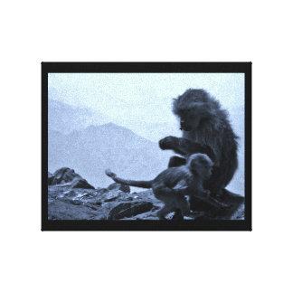 Affe-Mamma und Baby Leinwanddruck