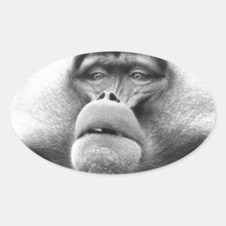 Affe Ovaler Aufkleber
