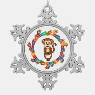 Affe-Sterne Schneeflocken Zinn-Ornament