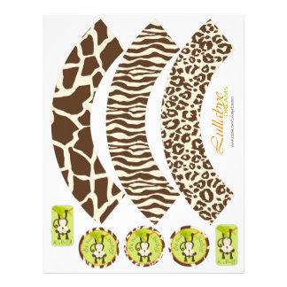 Affe-u. Schnuller-Tierdruck-Kuchen-Verpackungen Flyer