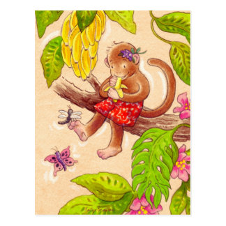 Affe und Libelle Postkarte