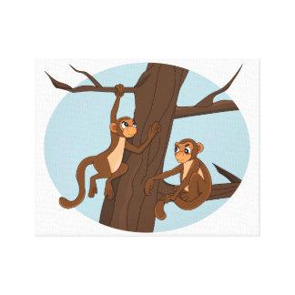 Affen, die den Baum-Cartoon klettern Leinwanddruck