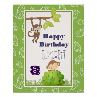 Affen, die von Baum-alles Gute zum Geburtstag Poster