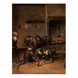 Affen in einer Küche durch David Teniers das Postkarte