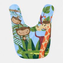 Affen, Krokodil und Giraffe im Lätzchen