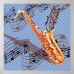 Affiche abstraite de saxophone