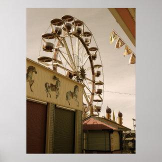 Affiche antique de roue de Ferris