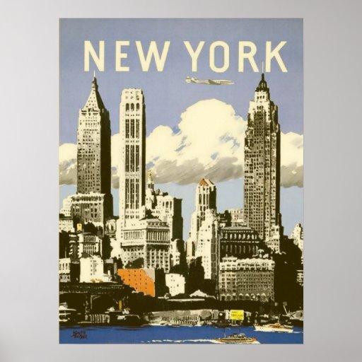 Affiche avec la copie vintage fraîche de New York