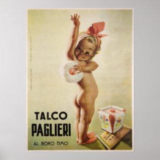 Affiche avec le bébé mignon sur l'affiche vintage